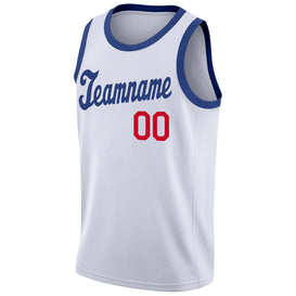 Custom White Royal-Red Round Neck Rib-Knit Basketball Jersey