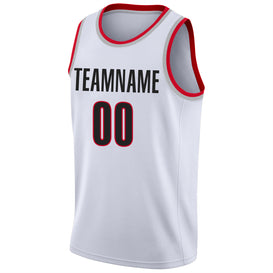 Custom White Black-Red Round Neck Rib-Knit Basketball Jersey