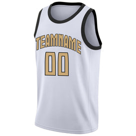 Custom White Old Gold-Black Round Neck Rib-Knit Basketball Jersey
