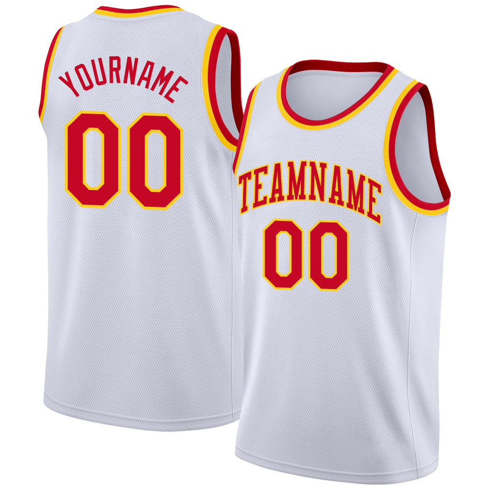 Custom White Red-Gold Round Neck Rib-Knit Basketball Jersey
