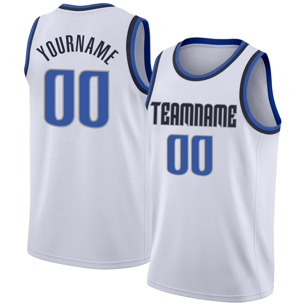 Custom White Blue-Navy Round Neck Rib-Knit Basketball Jersey