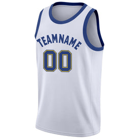 Custom White Royal-Gold Round Neck Rib-Knit Basketball Jersey
