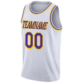 Custom White Purple-Gold Round Neck Rib-Knit Basketball Jersey