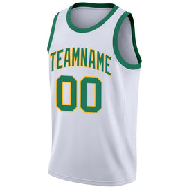 Custom White Kelly Green-Gold Round Neck Rib-Knit Basketball Jersey