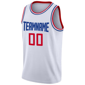 Custom White Red-Royal Round Neck Rib-Knit Basketball Jersey