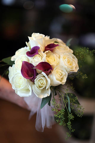 White Rose and Dark Purple Calla Lily Hand Tied Bouquet