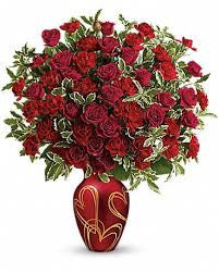 Red Hearts Of Gold Bouquet
