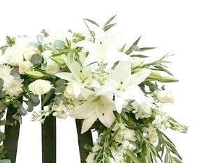Sympathy flower wreath for the service :Orchids & lilies