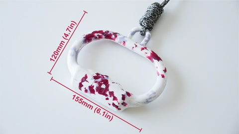 Pink on White leash dimensioned 120mm X 155mm