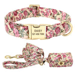 Load image into Gallery viewer, Personalized Flower Dog Collar Leash Set