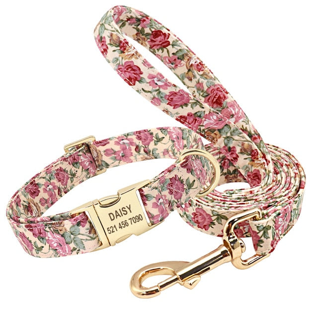Personalized Flower Dog Collar Leash Set