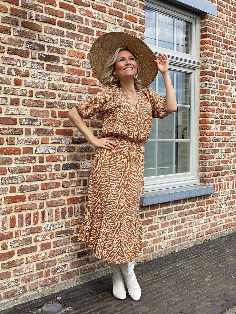 Poppyfield the label Alma dress tribalbrown @ modin