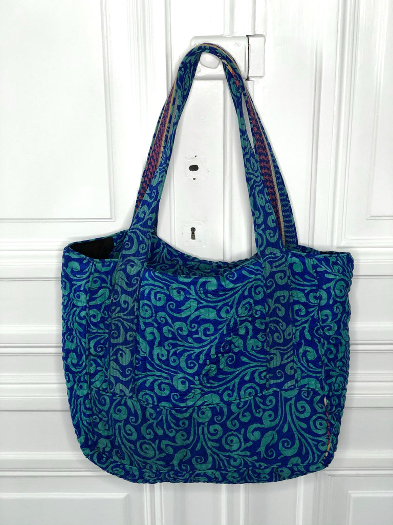 Sissel Edelbo Lena SILK maxi bag blue multi sustainable fashion @ modin