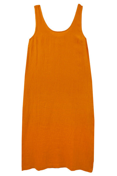 Basic Linen Shift Dress Saffron