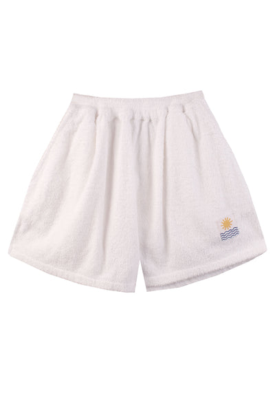 Basic Towelling Shorts White