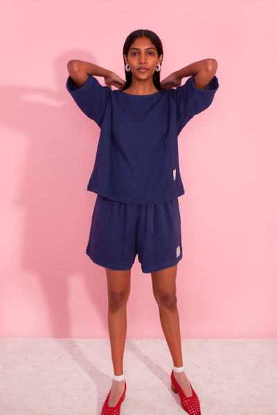 Basic Towelling Shorts Navy
