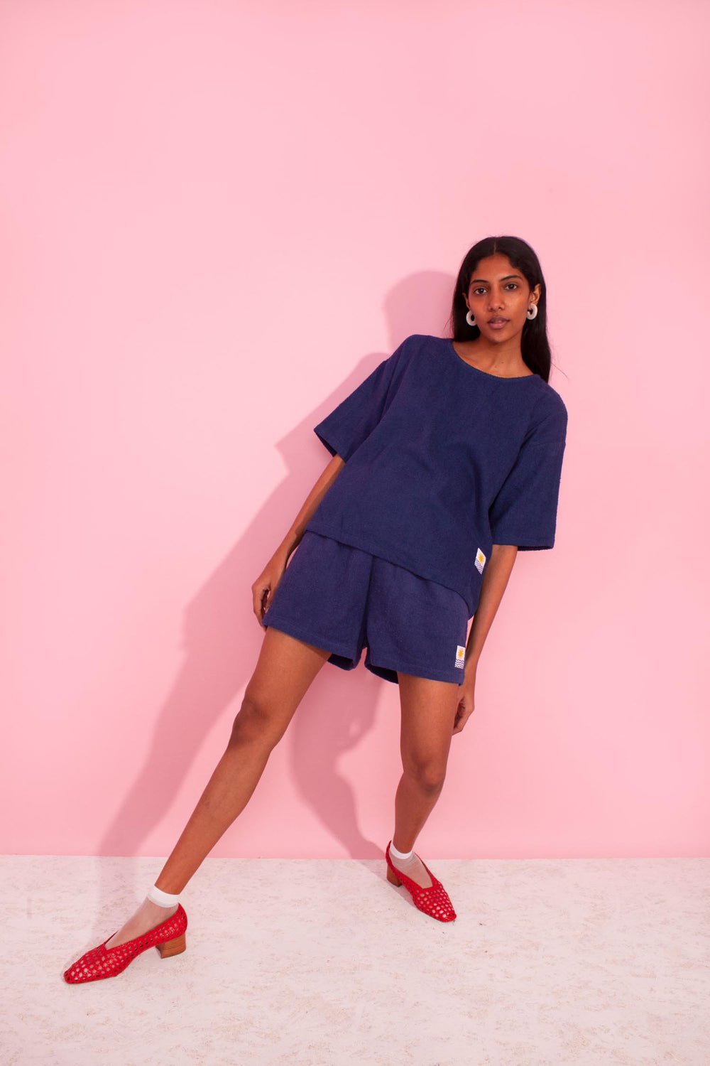 Basic Towelling Top Navy