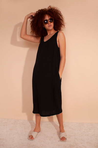 Basic Linen Shift Dress Black