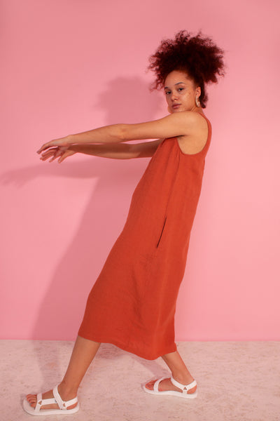 Basic Linen Shift Dress Terracotta