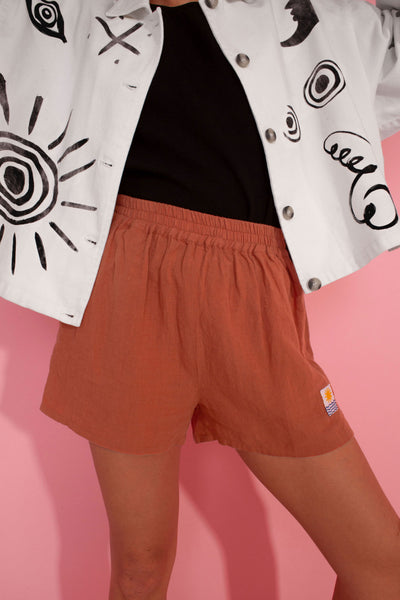 Basic Linen Shorts Terracotta