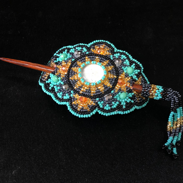 BEAUTIFUL HANDMADE BEADED BARRETTE WITH WOOD STICK