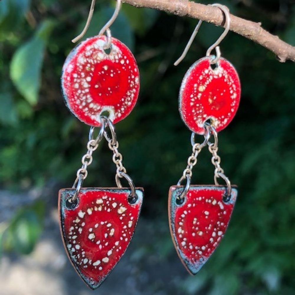 DOUBLE SHIELD GLASS ON COPPER - EARRINGS