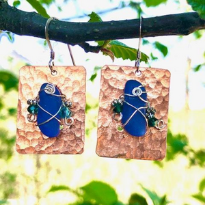 HAMMERED COPPER AND SEA GLASS EARRINGS