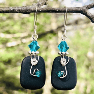 SQUARE SHAPE SEA GLASS EARRINGS