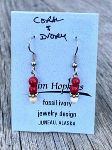 RED CORAL AND MAMMOTH IVORY BEAD EARRINGS