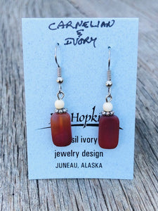 CARNELIAN AND MAMMOTH IVORY BEAD EARRINGS