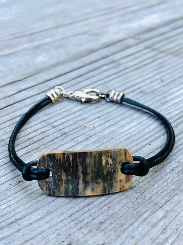 MAMMOTH IVORY DOUBLE LEATHER CORD BRACELET