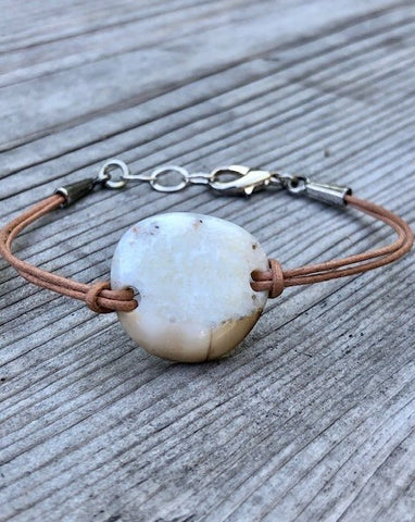 FOSSILIZED WALRUS IVORY DOUBLE LEATHER CORD BRACELET