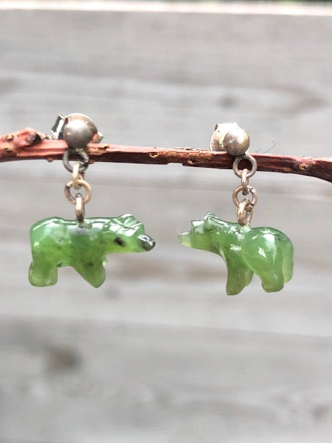 JADE POLAR BEAR POST DANGLE EARRINGS