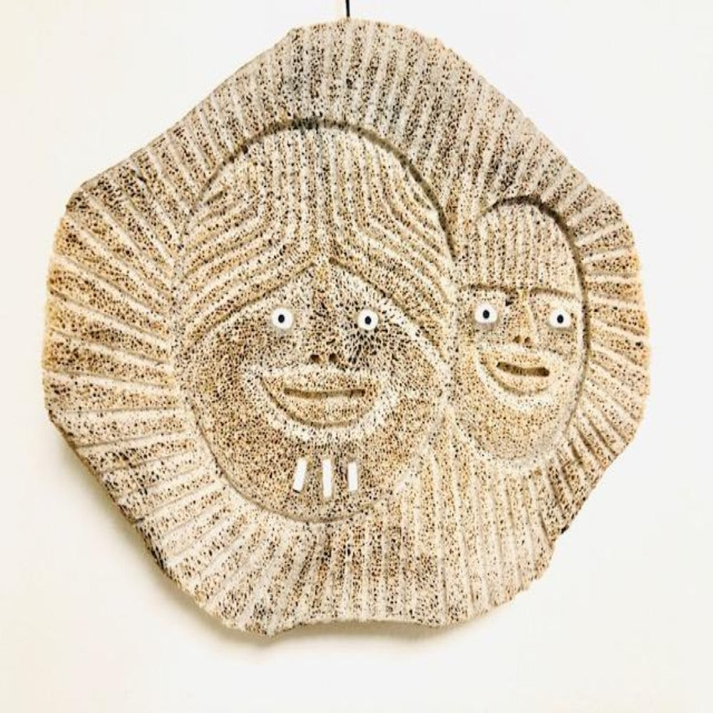 FOSSILIZED WHALE BONE INUIT MOTHER AND CHILD MASK