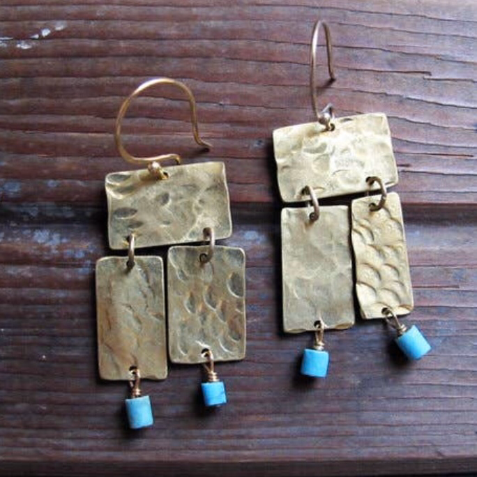 Akin Earrings Brass Rectangles and Turquoise