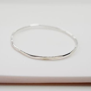 Hex Sterling Silver Hammered Bangle Bracelet