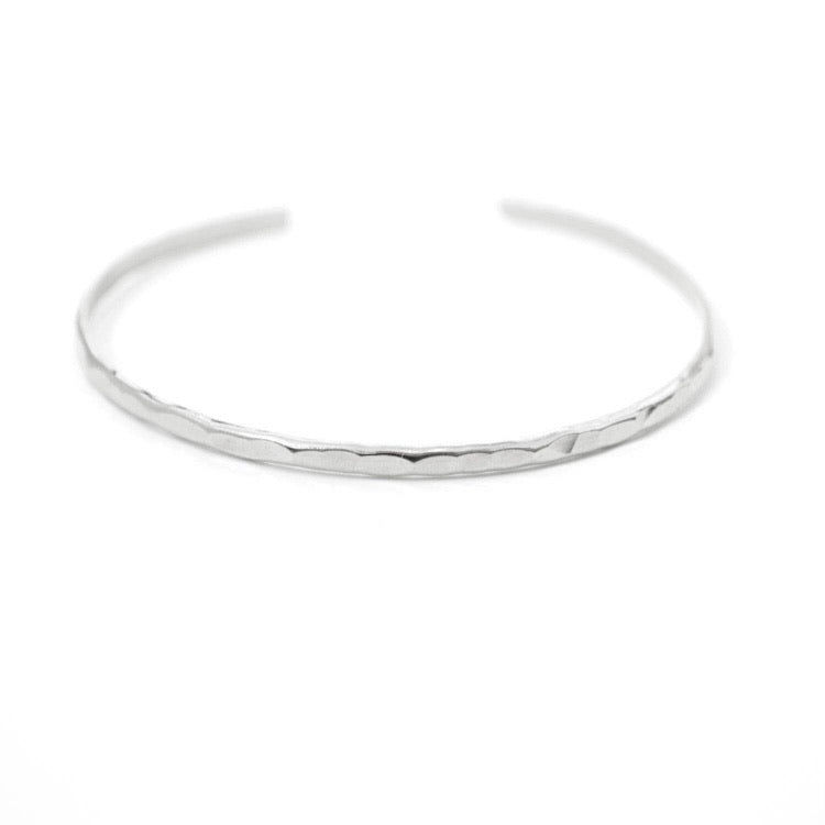 Thin Hammered Stacking Cuff Silver