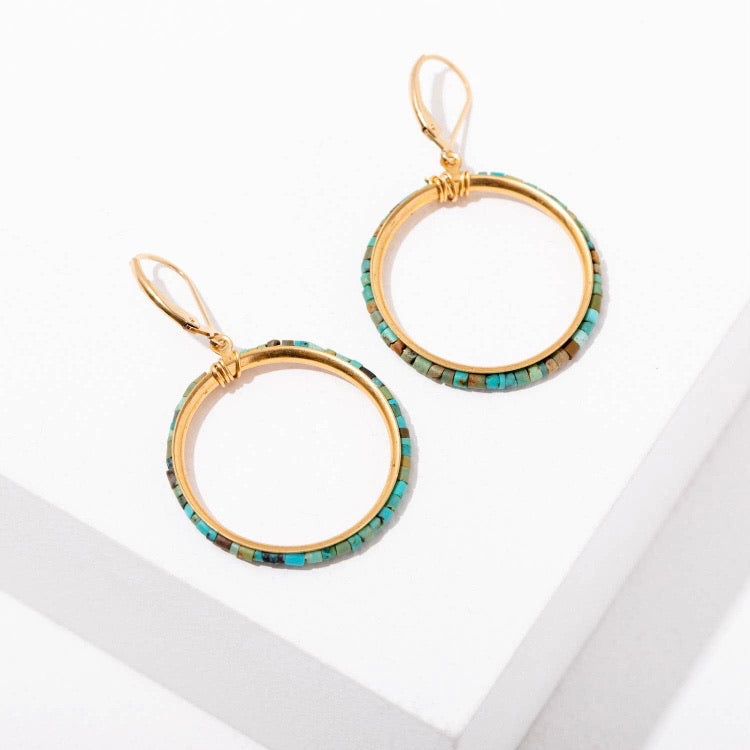 Larissa Loden & Wild Isles • Tiny Turquoise Bead Hoop Earrings • Gold