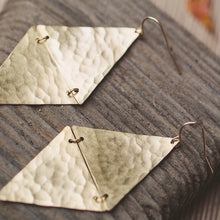 Load image into Gallery viewer, Desert Moon Design • Alba Triangle Earrings • Hammered Brass