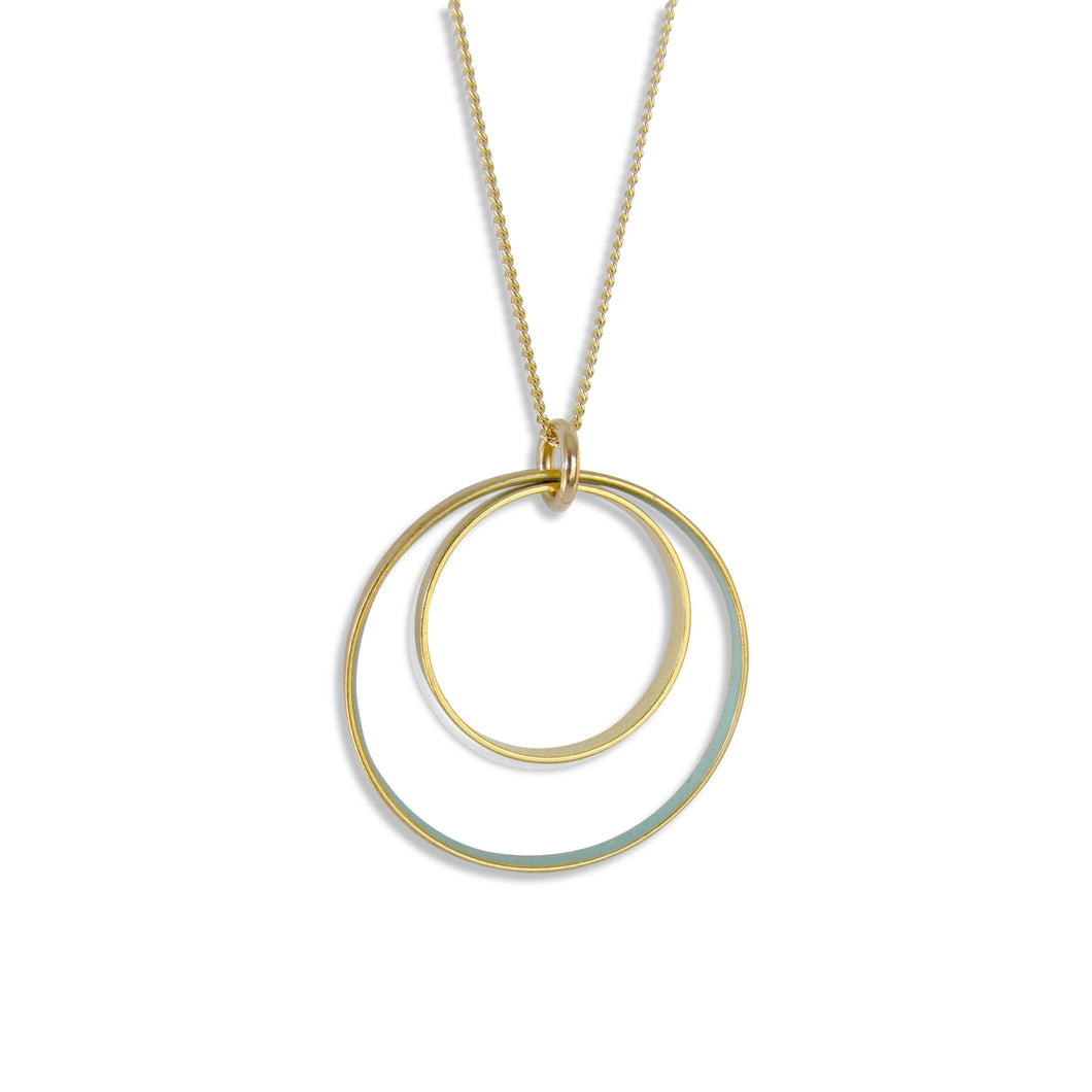 Nested Circles Long Necklace Gold