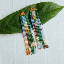 Load image into Gallery viewer, Weave Gold • Willow Beaded Earrings • Green