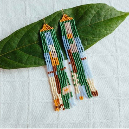 Weave Gold • Willow Beaded Earrings • Green