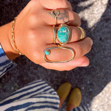 Load image into Gallery viewer, Fade Into The Abstract • Primitive Open Oval Turquoise Statement Ring • Brass