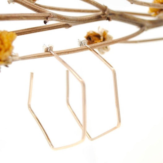 Daedal • Hexagon Hoop Earrings • 14K Gold Fill