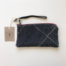 Load image into Gallery viewer, Vaalbara • Clara Clutch • Blue Kantha Black Leather