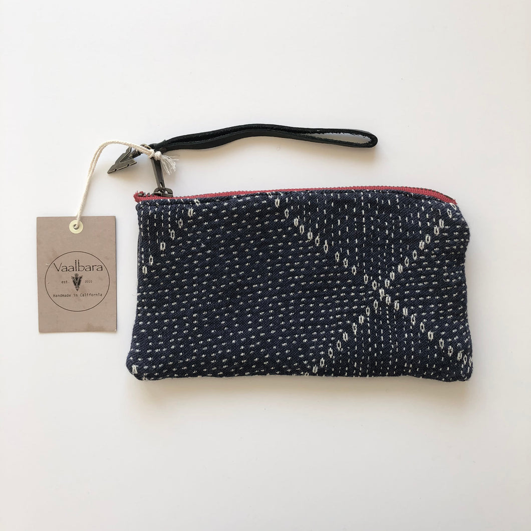 Vaalbara • Clara Clutch • Blue Kantha Black Leather