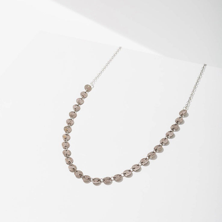 Candra Geometric Tiny Circles Necklace Oxidized Silver