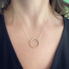 Load image into Gallery viewer, Ornamental Things Circle Blue Horizon Necklace Gold