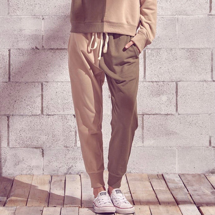 Two Tone Cotton Fleece Joggers Taupe Olive