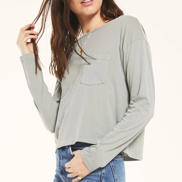 Z Supply Organic Mina Long Sleeve Tee Sage Mist